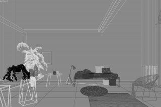 Rendering - prima ambientazione, wire frame