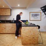 zona living, attico a Parigi, materiali utilizzati