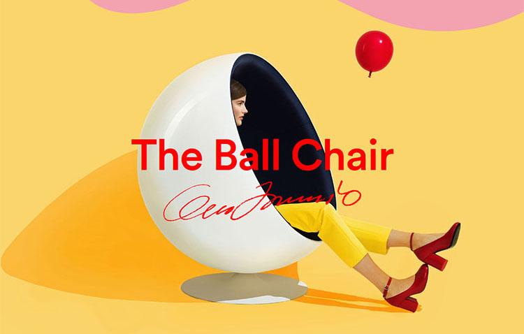 Ball Chair, seduta comoda e avvolgente in tessuto imbottito