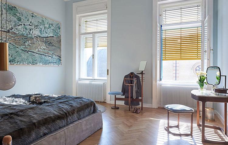 Camera da letto della casa a Budapest, progettazione dello studio ungherese Spirit Home