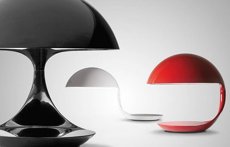 Lampada Cobra di Martinelli in tre colorazioni: bianco, nero e rosso.