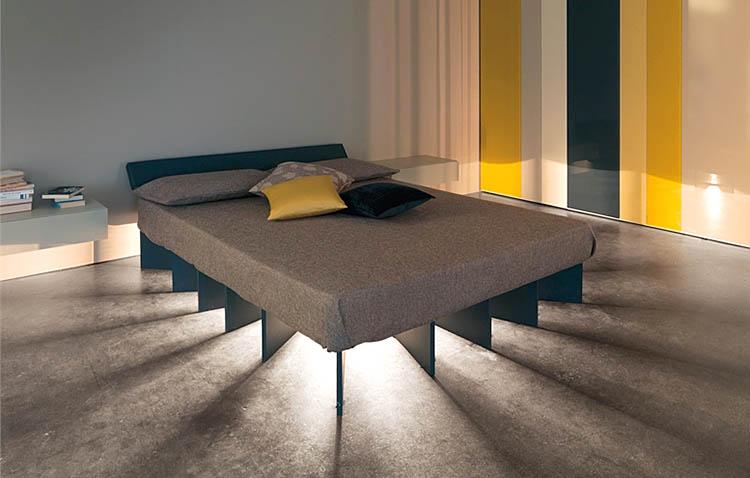 letto beam di lago con illuminazione sotto il letto