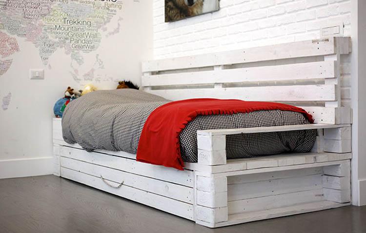 letti in pallet - singolo divano letto