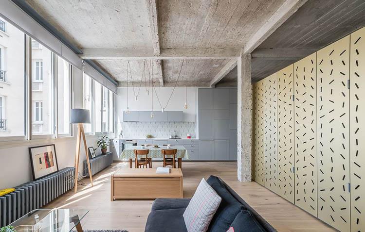 loft voltaire - miniappartamento monolocale a parigi in stile industrial